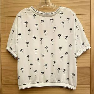 CACHE CACHE Palm Tree Crew Neck Short Sleeved Top